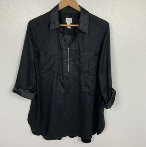 Chicos's Top Blouse Long Sleeve Black Sz: 2